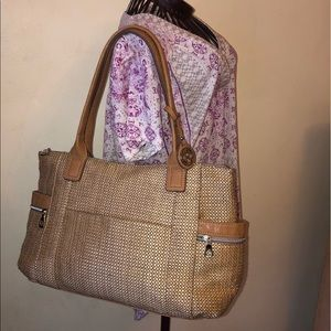 RELIC Tan Straw Large Shoulder Bag